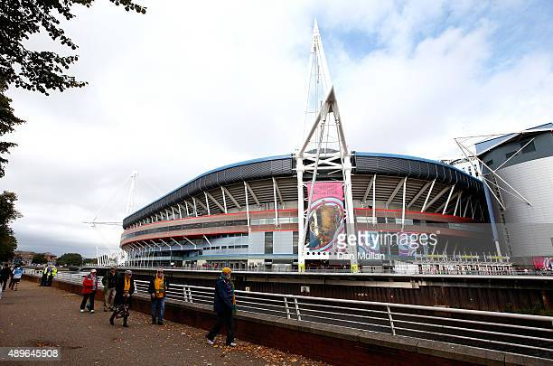 A general view of the stadium prior to the 2015 Rugby World Cup Pool A match between Australia and Fiji at the Millennium Stadium on September 23...