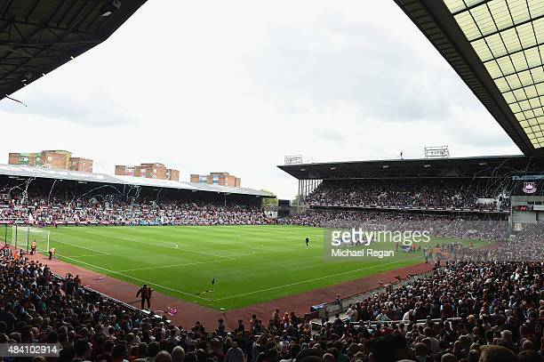 A general view of the stadium prior to the Barclays Premier League match between West Ham United and Leicester City at the Boleyn Ground on August 15...