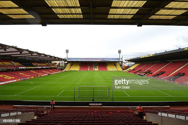 A general view of the stadium prior to the Barclays premier League match between Watford and Southampton at Vicarage Road on August 23 2015 in...