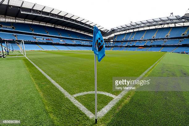 A general view of the stadium prior to the Barclays Premier League match between Manchester City and Watford at Etihad Stadium on August 29 2015 in...