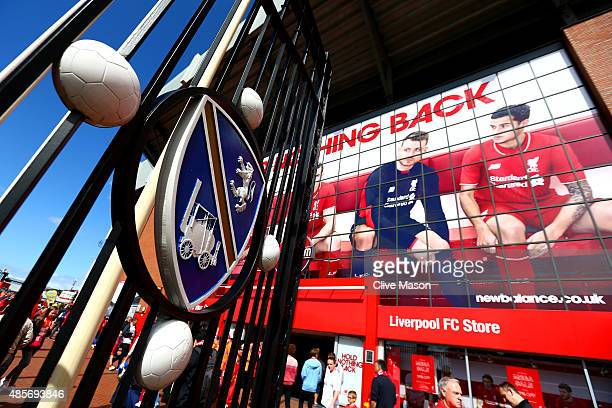 A general view of the stadium prior to the Barclays Premier League match between Liverpool and West Ham United at Anfield on August 29 2015 in...
