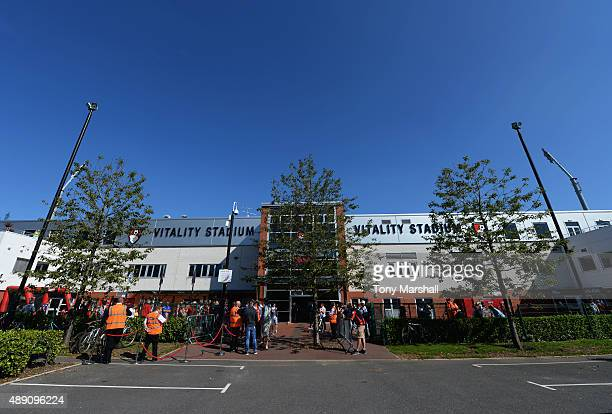 A general view of the stadium prior to the Barclays Premier League match between AFC Bournemouth and Sunderland at Vitality Stadium on September 19...