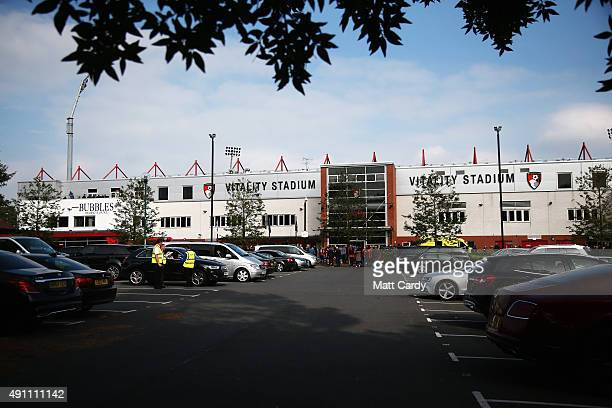 A general view of the stadium prior to the Barclays Premier League match between AFC Bournemouth and Watford at Vitality Stadium on October 3 2015 in...