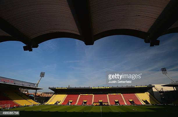 A general view of the stadium prior to the Barclays Premier League match between Watford and West Ham United at Vicarage Road on October 31 2015 in...