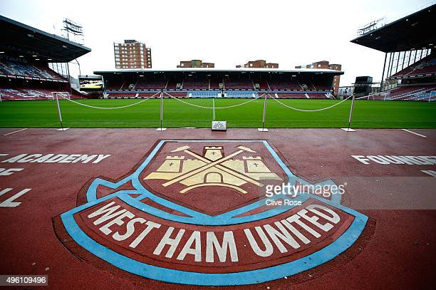 A general view of the stadium prior to the Barclays Premier League match between West Ham United and Everton at Boleyn Ground on November 7 2015 in...