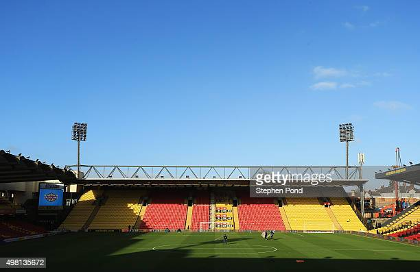 A general view of the stadium prior to the Barclays Premier League match between Watford and Manchester United at Vicarage Road on November 21 2015...