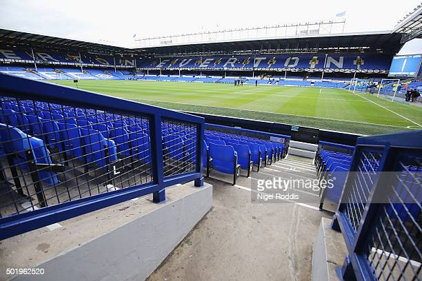 A general view of the stadium prior to the Barclays Premier League match between Everton and Leicester City at Goodison Park on December 19 2015 in...