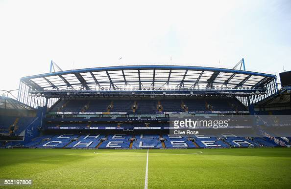 A general view of the stadium prior to the Barclays Premier League match between Chelsea and Everton at Stamford Bridge on January 16 2016 in London...