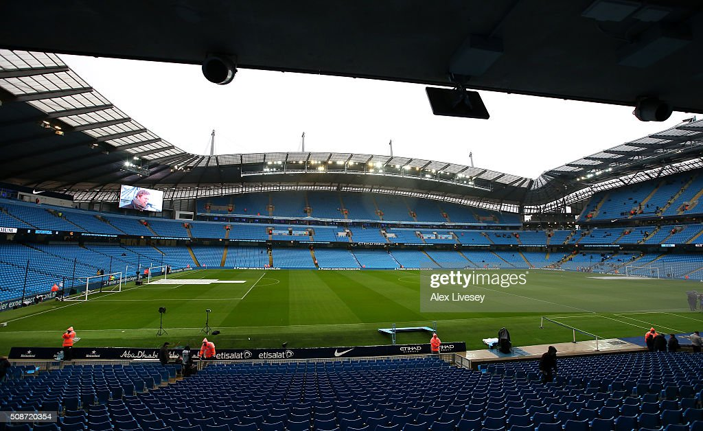 A general view of the stadium prior to the Barclays Premier League match between Manchester City and Leicester City at the Etihad Stadium on February 6, 2016 in Manchester, England.