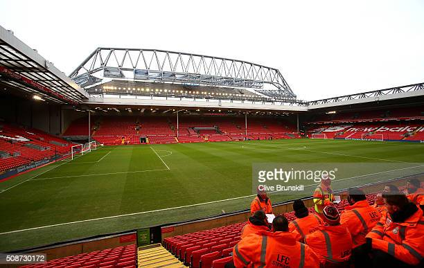 A general view of the stadium prior to the Barclays Premier League match between Liverpool and Sunderland at Anfield on February 6 2016 in Liverpool...