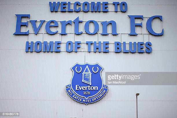 A general view of the stadium prior to the Barclays Premier League match between Everton and Arsenal at Goodison Park on March 19 2016 in Liverpool...