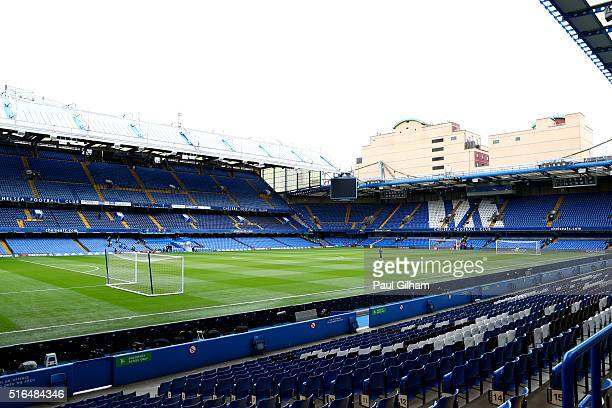 A general view of the stadium prior to the Barclays Premier League match between Chelsea and West Ham United at Stamford Bridge on March 19 2016 in...