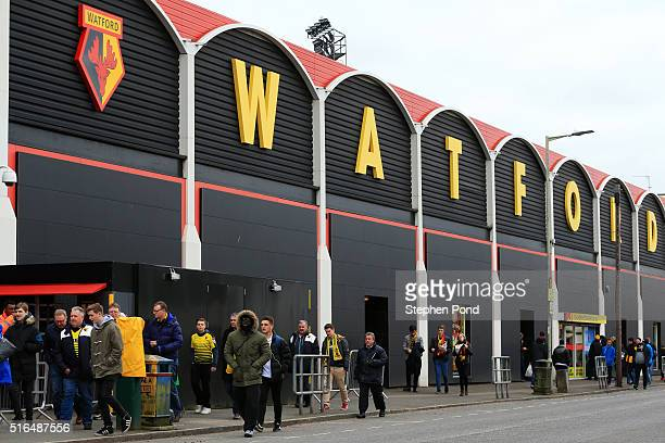A general view of the stadium prior to the Barclays Premier League match between Watford and Stoke City at Vicarage Road on March 19 2016 in Watford...