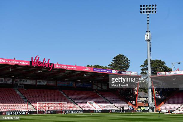 A general view of the stadium prior to the Barclays Premier League match between AFC Bournemouth and Manchester City at Vitality Stadium on April 2...