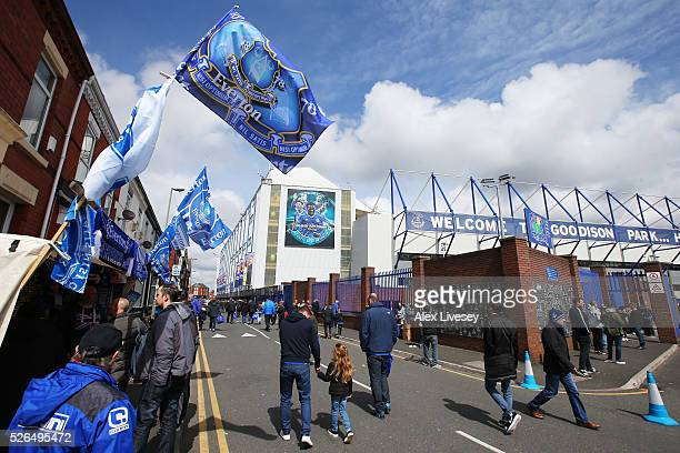 A general view of the stadium prior to the Barclays Premier League match between Everton and AFC Bournemouth at Goodison Park on April 30 2016 in...