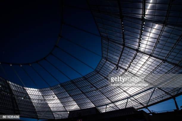 General view of the stadium prior to the Bundesliga match between Bayer 04 Leverkusen and VfL Wolfsburg at BayArena on October 15 2017 in Leverkusen...