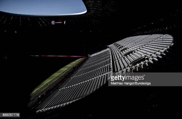 A general view of the stadium prior to the Bundesliga match between FC Bayern Muenchen and Bayer 04 Leverkusen at Allianz Arena on August 18 2017 in...