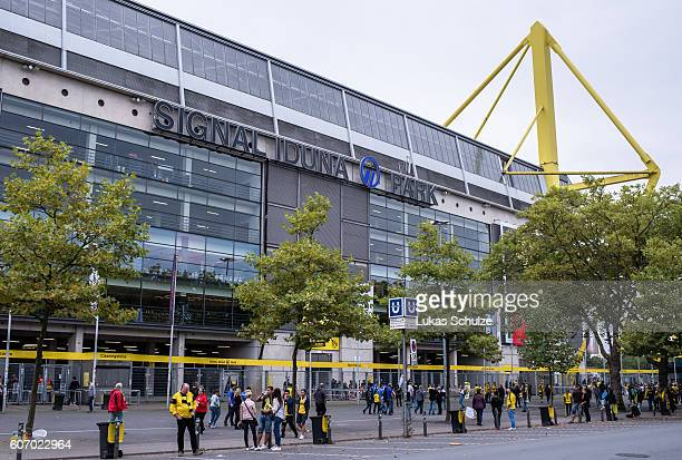 General view of the stadium prior to the Bundesliga match between Borussia Dortmund and SV Darmstadt 98 at Signal Iduna Park on September 17 2016 in...