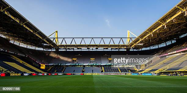 General view of the stadium prior to the Bundesliga match between Borussia Dortmund and SC Freiburg at Signal Iduna Park on September 23 2016 in...