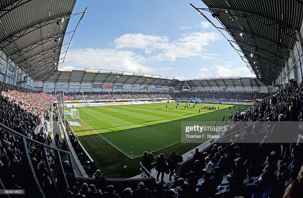 A general view of the stadium prior to the Bundesliga match between SC Paderborn and FSV Mainz 05 at Benteler Arena on August 24 2014 in Paderborn...