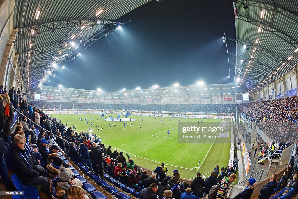 A general view of the stadium prior to the Bundesliga match between SC Paderborn and FC Schalke 04 at Benteler Arena on December 17 2014 in Paderborn...