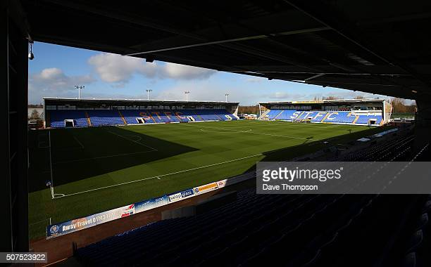 A general view of the stadium prior to the Emirates FA Cup Fourth Round match between Shrewsbury Town and Sheffield Wednesday at New Meadow on...