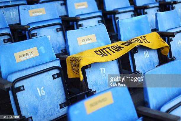 A general view of the stadium prior to The Emirates FA Cup Third Round match between Sutton United and AFC Wimbledon at the Borough Sports Ground on...