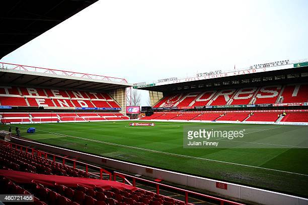 A general view of the stadium prior to the FA Cup with Budweiser Third round match between Nottingham Forest and West Ham United at City Ground on...