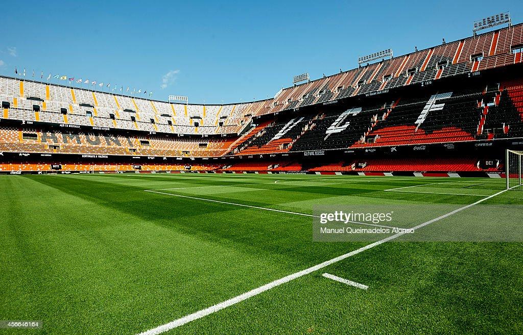 A general view of the stadium prior to the La Liga match between Valencia CF and Club Atletico de Madrid at Estadi de Mestalla on October 4 2014 in...