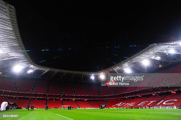 A general view of the stadium prior to the La Liga match between Athletic Club and FC Barcelona at San Mames Stadium on December 1 2013 in Bilbao...