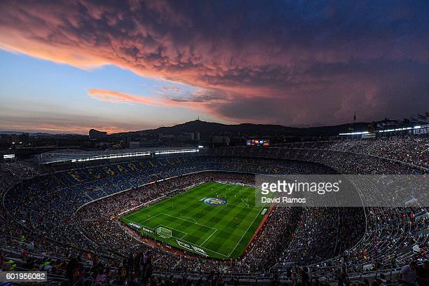 A general view of the stadium prior to the La Liga match between FC Barcelona and Deportivo Alaves at Camp Nou stadium on September 10 2016 in...