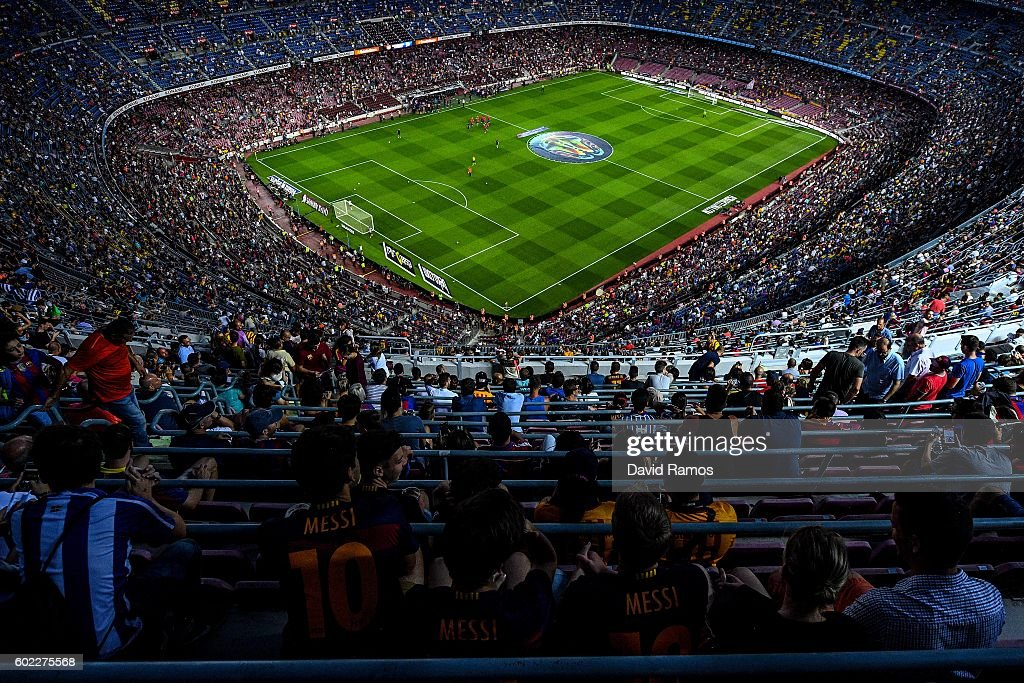 A general view of the stadium prior to the La Liga match between FC Barcelona and Deportivo Alaves at Camp Nou stadium on September 10, 2016 in Barcelona, Spain.