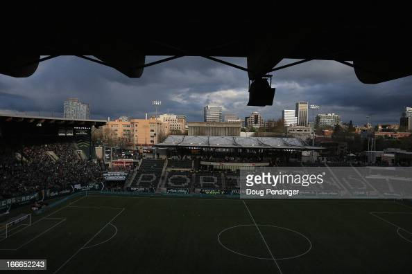 A general view of the stadium prior to the match between the San Jose Earthquakes and the Portland Timbers at JELDWEN Field on April 14 2013 in...
