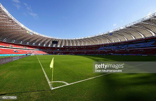 A general view of the stadium prior to the Netherlands training session at the 2014 FIFA World Cup Brazil held at the Estadio BeiraRio on June 17...