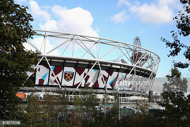 A general view of the stadium prior to the Premier League match between West Ham United and Sunderland at Olympic Stadium on October 22 2016 in...
