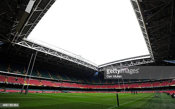 A general view of the stadium prior to the RBS Six Nations match between Wales and Ireland at Millenium Stadium on March 14 2015 in Cardiff Wales