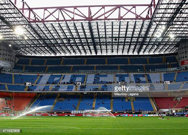 A general view of the stadium prior to the Serie A match between AC Milan and Genoa CFC at Stadio Giuseppe Meazza on April 29 2015 in Milan Italy
