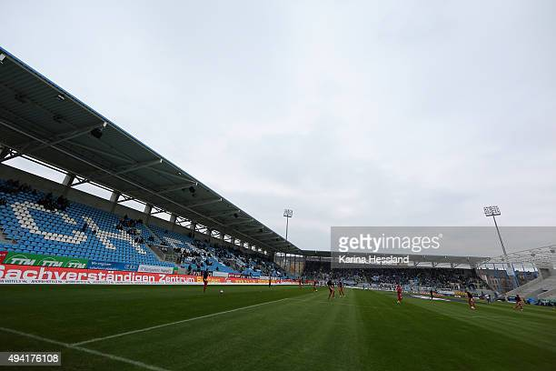 A general view of the stadium prior to the Third League match between Chemnitzer FC and Hallescher FC at Stadion an der Gellertstrasse on October 25...