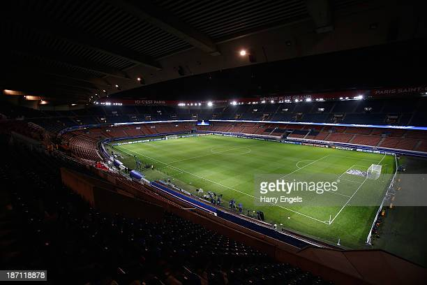 A general view of the stadium prior to the UEFA Champions League Group C match between Paris Saint Germain and RSC Anderlecht at Parc des Princes on...