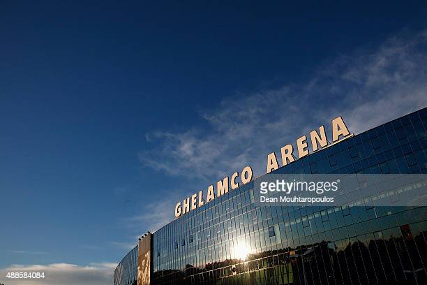 A general view of the stadium prior to the UEFA Champions League Group H match between KAA Gent and Olympique Lyonnais held at Ghelamco Arena on...