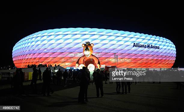 A general view of the stadium prior to the UEFA Champions League Group F match between FC Bayern Muenchen and Arsenal FC at the Allianz Arena on...