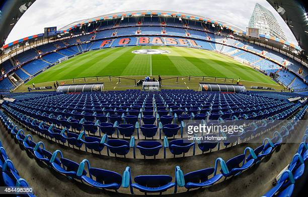 A general view of the stadium prior to the UEFA Champions League qualifying round playoff first leg match between FC Basel and Maccabi Tel Aviv at St...