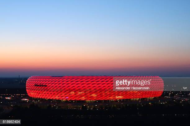 A general view of the stadium prior to the UEFA Champions League round of 16 second Leg match between FC Bayern Muenchen and Juventus at the Allianz...