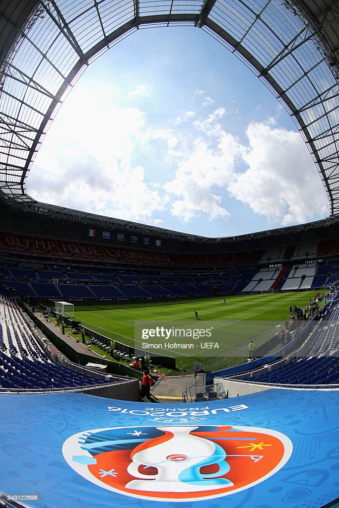 A general view of the stadium prior to the UEFA EURO 2016 round of 16 match between France and Republic of Ireland at Stade des Lumieres on June 26, 2016 in Lyon, France.
