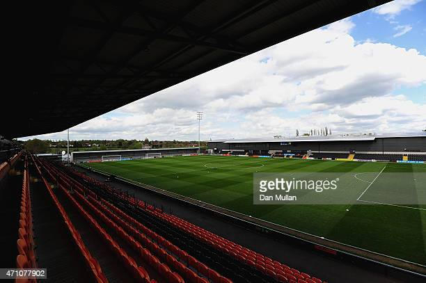 A general view of the stadium prior to the Vanarama Football Conference League match between Barnet and Gateshead at The Hive on April 25 2015 in...