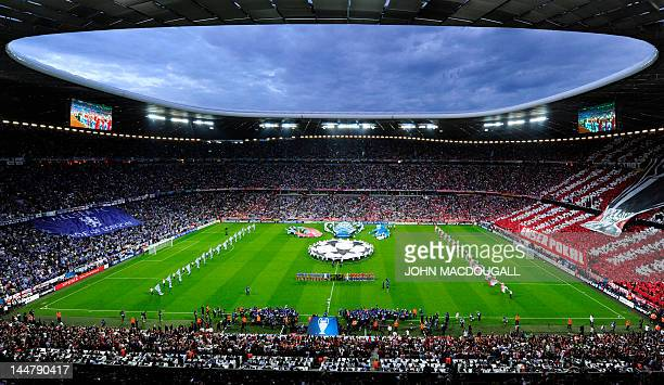 General view of the stadium taken during the opening ceremony before the start of the UEFA Champions League final football match between FC Bayern...