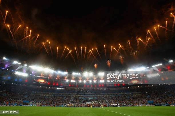 A general view of the stadium with fireworks after the 2014 FIFA World Cup Brazil Final match between Germany and Argentina at Maracana on July 13...