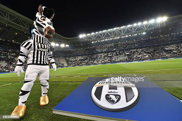 A general view of the stadium with mascote prior to the UEFA Champions League group E match between Juventus and Sevilla FC on September 30 2015 in...
