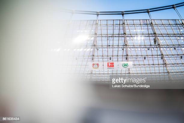 General view of the stadium with the official logo of the Bundesliga and both clubs prior to the Bundesliga match between Bayer 04 Leverkusen and VfL...