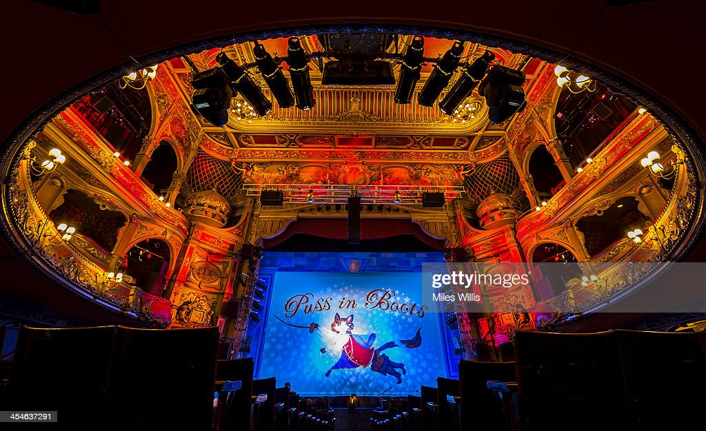 A general view of the stage and auditorium prior to the Puss in Boots pantomime at the Hackney Empire on December 6, 2013 in London, England.